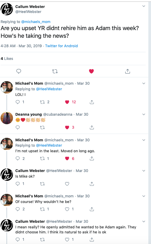 Twitter Screen Shot, Michael Muhney's mom, Young and the Restless-https://twitter.com/HeelWebster/status/1111832583401144321