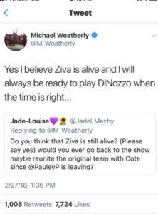 Michael Weatherly tweet, Anthony DiNozzo, NCIS-https://twitter.com/twizzledtaylor/status/1131035580723343360/photo/1