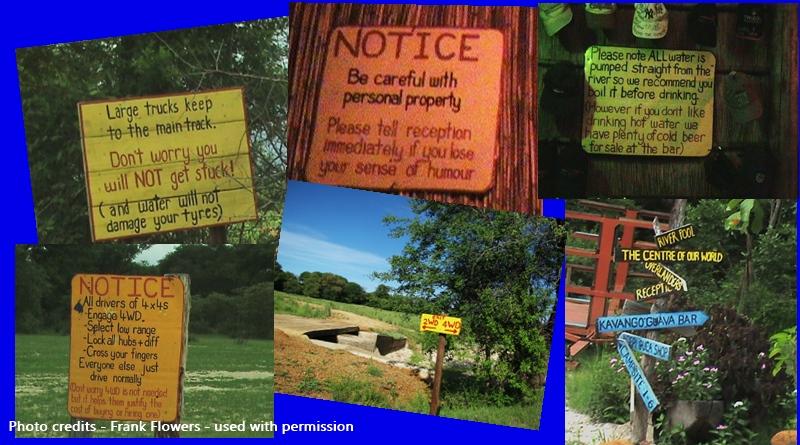 Namibia Ngepi Camp fun at heart signs