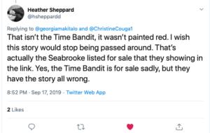 Heather Sheppard Tweet on Time Bandit And Seabrooke-https://twitter.com/hsheppardd/status/1174033339432370177