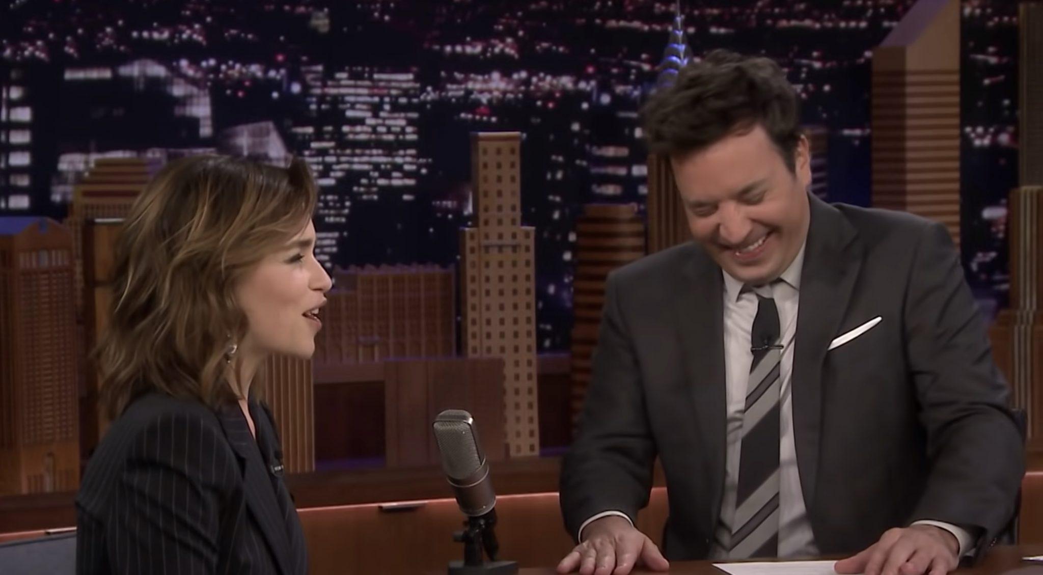 Got Emilia Clarke, Jimmy Fallon Discuss Game of Thrones Coffeegatehttps://www.youtube.com/watch?v=R5oYt_J9OJE