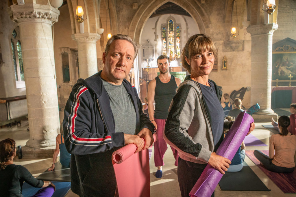 Midsomer Murders S21 Neil Dudgeon and Fiona Dolman, photo with permission from Acorn TV promotional