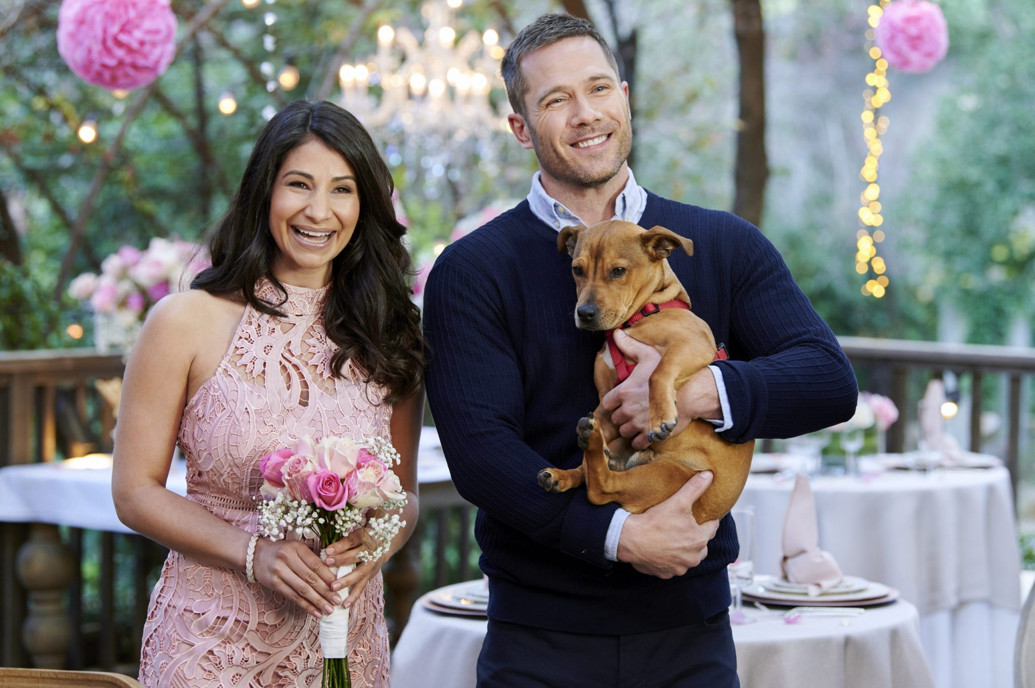 A sneak peek at our Love Ever After original movies plus Hallmark Channel's upcoming Cat Bowl II, Kitten Bowl VII, and the 2020 American Rescue Dog Show. Photo: Larissa Wohl, Luke Macfarlane Credit: ©2020 Crown Media United States LLC/Photographer: Alexx Henry/Alexx Henry Studios, LLC