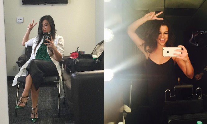 dr pimple popper and selena gomez mirror selfies