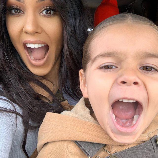 Kourtney Kardashian with son, Reign.