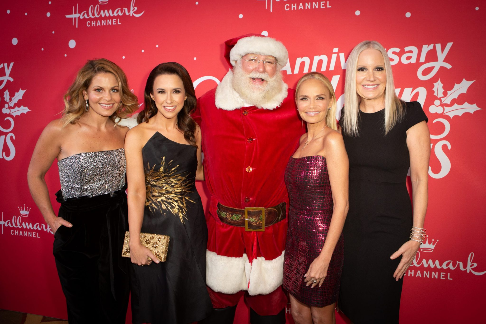 """Hallmark Channel's 10th Anniversary of Countdown to Christmas kickoff event in Beverly Hills, CA with Tony and Emmy Award winner, Kristin Chenoweth along with Hallmark Channel super stars of Christmas Candace Cameron Bure and Lacey Chabert premiere screening of """"A Christmas Love Story."""" Photo: Candace Cameron Bure, Lacey Chabert, Kristin Chenoweth, Michelle Vicary Credit: ©2019 Crown Media United States LLC/Photographer:Alexx Henry/Alexx Henry Studios, LLC"""