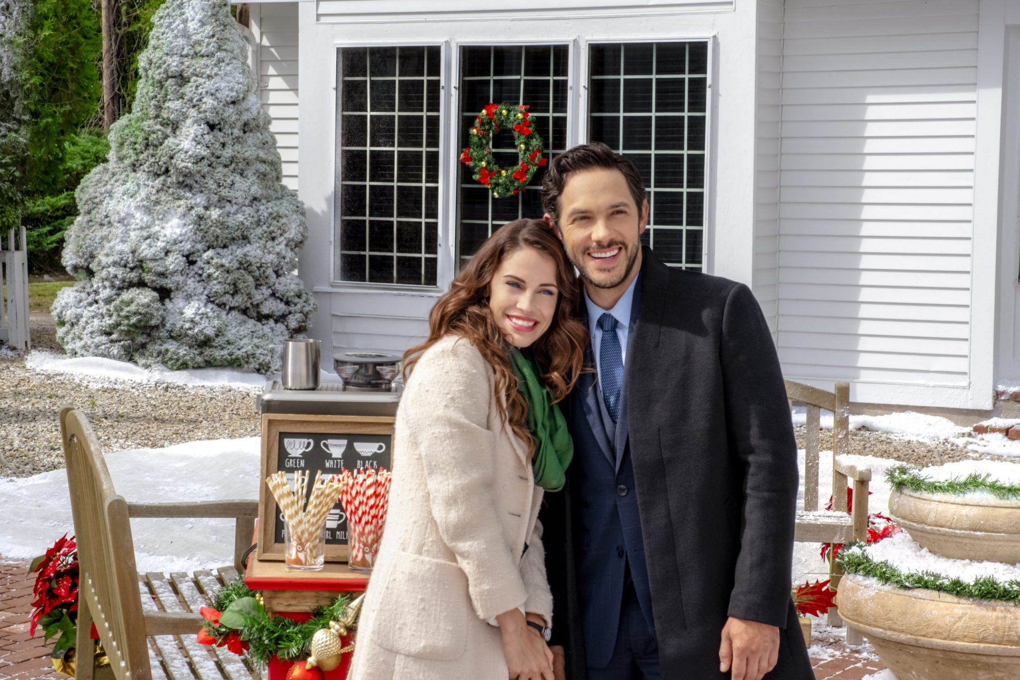 Hallmark Christmas, As Christmas approaches; a New York event planner is sent to a small town to organize a holiday festival. When she arrives, she finds a high-profile billionaire — who lacks holiday spirit — in the process of selling the charming estate she hoped to use as a venue. Before long, the unlikely pair begins falling for each other. But when complications arise, the couple parts ways and the billionaire moves forward with his plans to sell the estate. On the night before Christmas, the young event planner wishes for a Christmas miracle to save the estate and rekindle her holiday romance. Photo: Jessica Lowndes, Michael Rady Credit: ©2018 Crown Media United States LLC/Photographer: Robert Clark