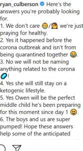 RHOC Ryan Culberson Baby FAQ Instagram