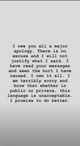 Hannah Brown Apology Via Instagram