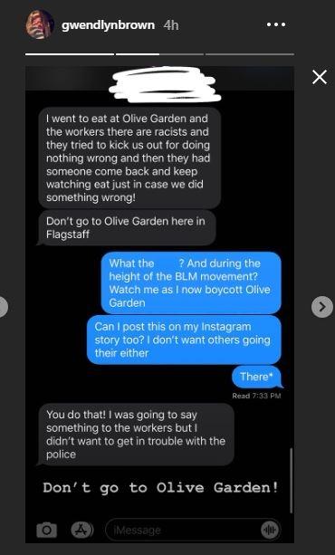 Gwendlyn Brown IG story