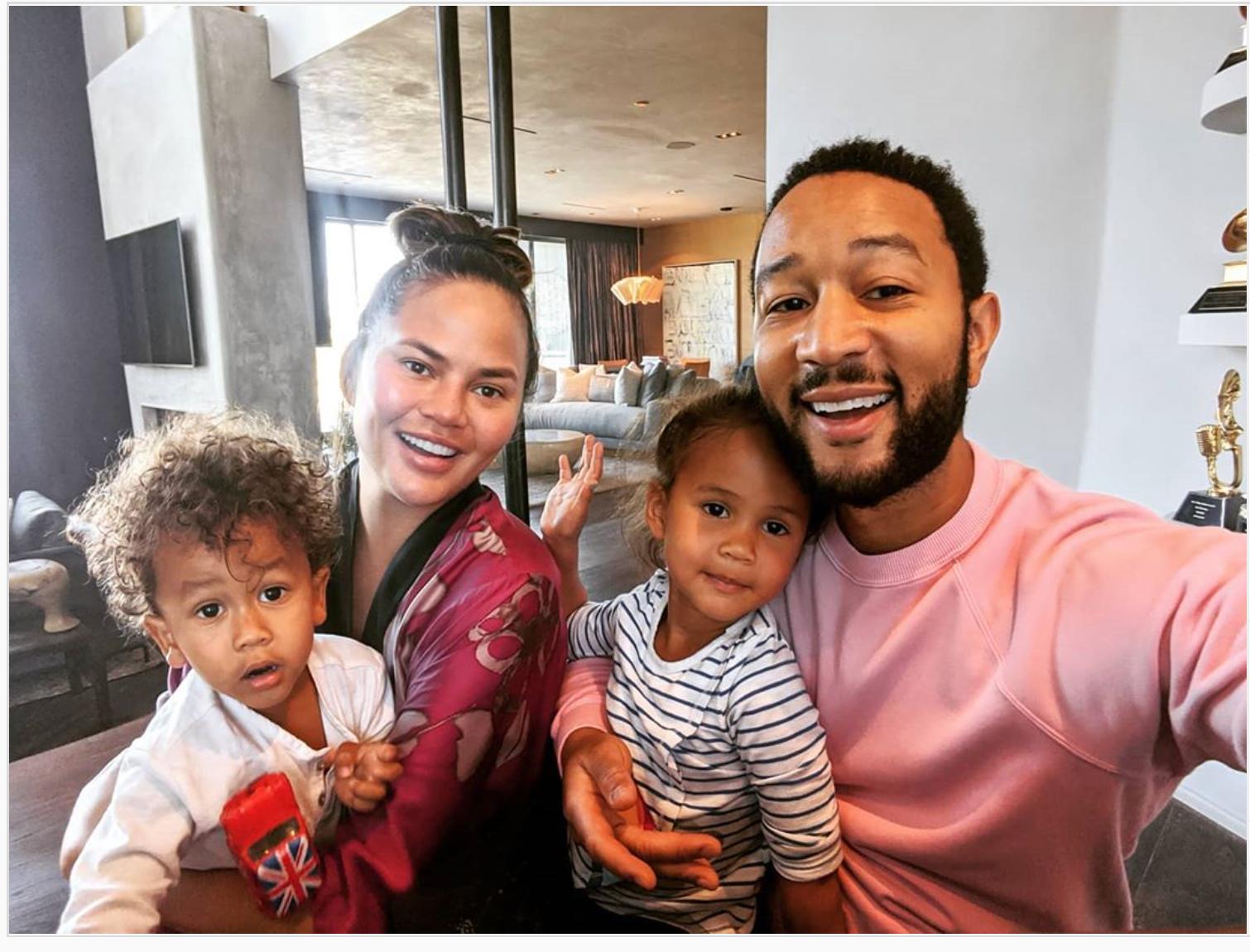 John Legend, Chrissy Teigen, and children