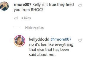 RHOC Kelly Dodd Instagram Comment Screenshot