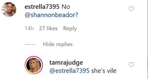 RHOC Tamra Judge Instagram Comment Screenshot