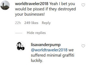 VPR Lisa Vanderpump Instagram Comment Screenshot
