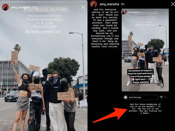 kendall jenner in harry styles' friend's instagram story