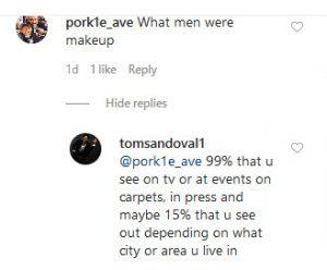 VPR Tom Sandoval Instagram Comment Screenshot
