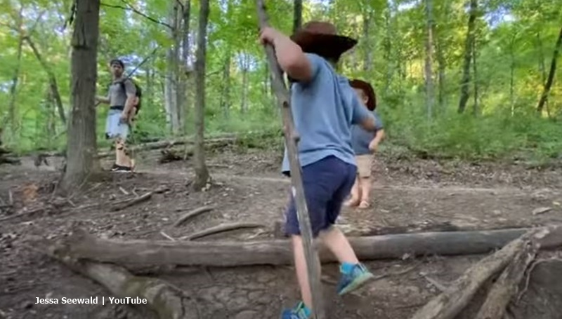 Duggar family outing in the woods