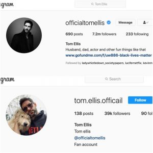 Tom Ellis Instagram account, Tom Ellis fan club-https://www.instagram.com/officialtomellis/, https://www.instagram.com/tom.ellis.officail/