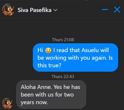 Asuelu of 90 Day Fiance has been working for Siva Pasefika for two years
