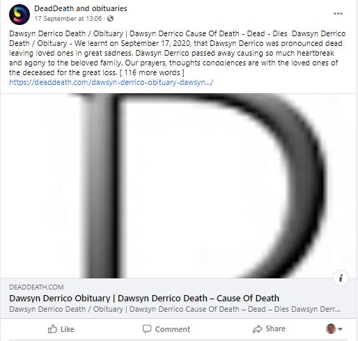 DDWTD Dawsyn death notice