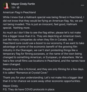 Mayor Cindy Fortin, Facebook, Peachland American Flag Hallmark Protesthttps://www.facebook.com/mayorcindy.fortin.7/posts/715240979333640