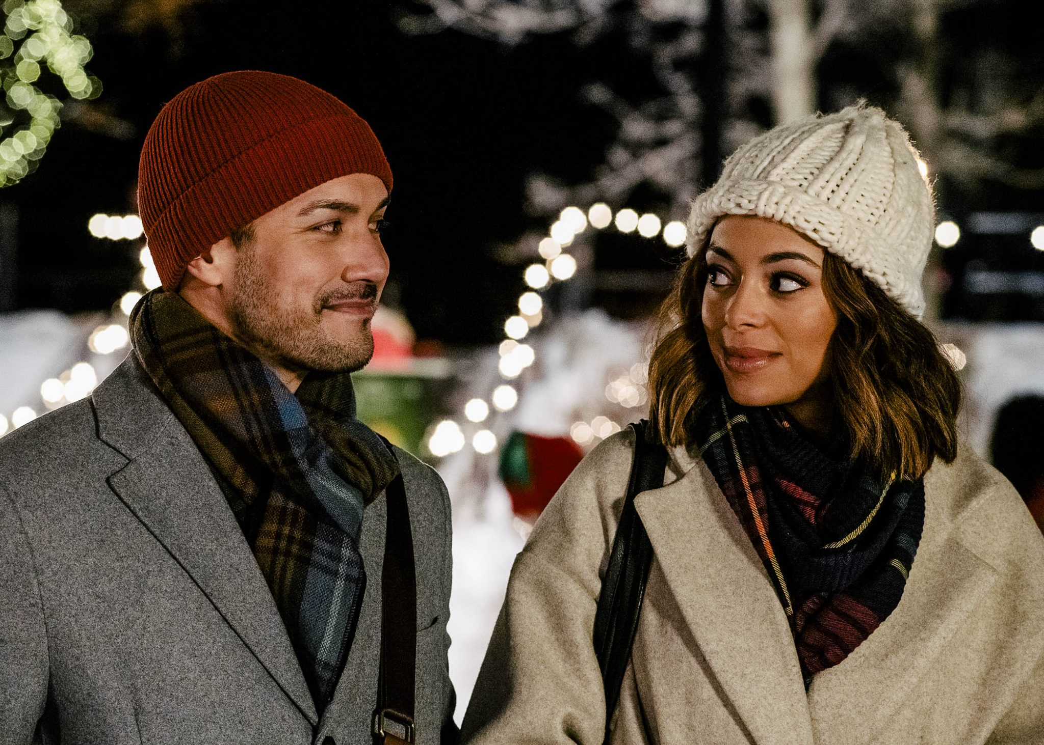 Lifetime, Christmas Unwrapped, Marco Grazzini and Amber Stevens West-Used with permission from Lifetime, Photo by Albert Camicioli Copyright 2020
