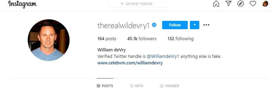 General Hospital star William deVry on Instagram