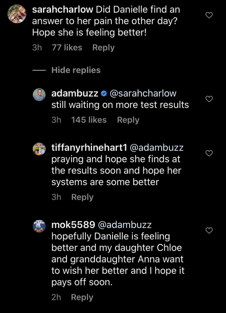 Adam Busby Instagram comments
