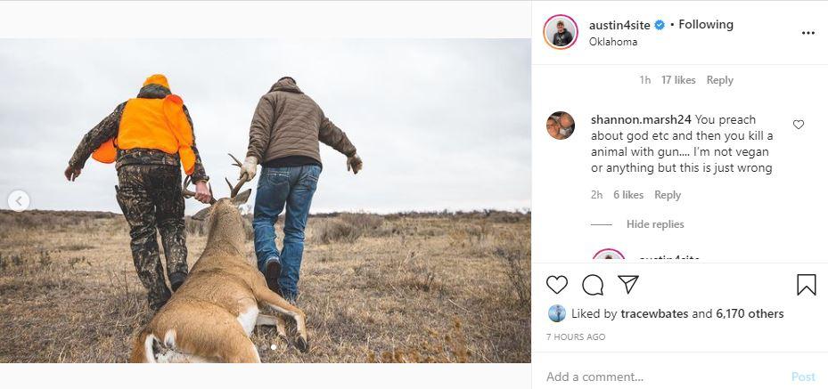Austin Forsyth slams back on hunting