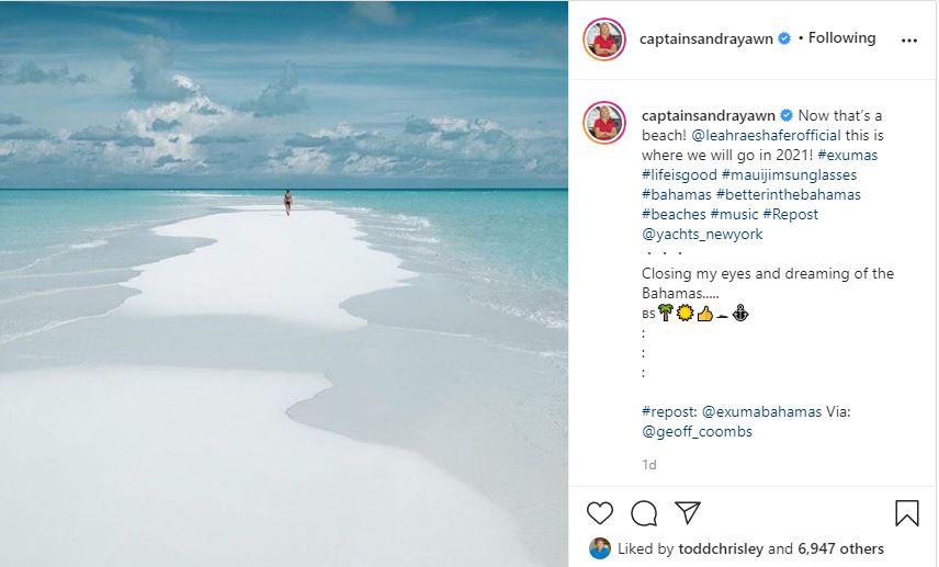 Below Deck Captain Sandy Yawn finds exotic beach