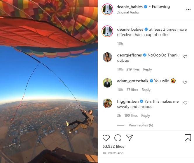 BiP Dean Unglert jumps off a balloon