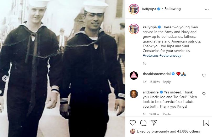 Kelly Ripa and Mark Consuelos dads in the militray