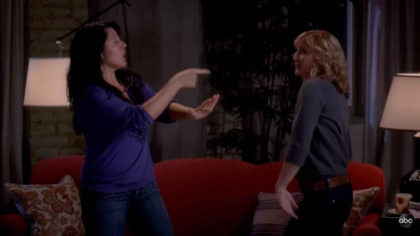 Arizona Robbins (Jessica Capshaw) and Callie Torres (Sara Ramirez) on Grey's Anatomy