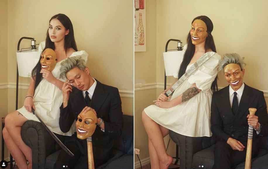 90 Day Fiance star Deavan Clegg and Topher Park wear The Purge masks