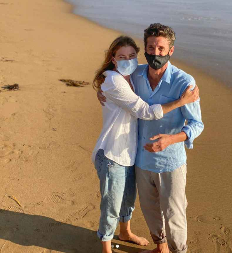 Ellen Pompeo as Meredith Grey and Patrick Dempsey as Dr. Derek Shepherd on Grey's Anatomy