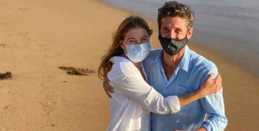 Ellen Pompeo as Meredith Grey and Patrick Dempsey as Dr. Derek Shepherd on Grey's Anatomy