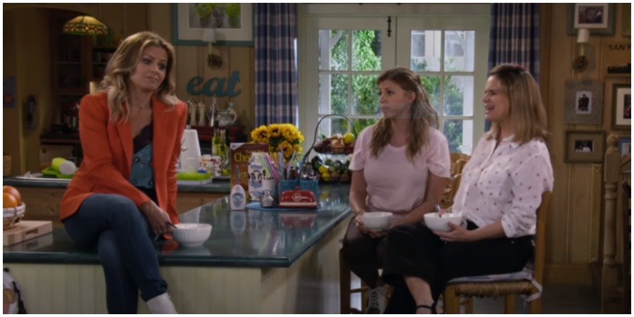 Candace Cameron Bure, Jodie Sweetin & Andrea Barber during Season 5 of 'Fuller House.' (Credit: Netflix/YouTube)