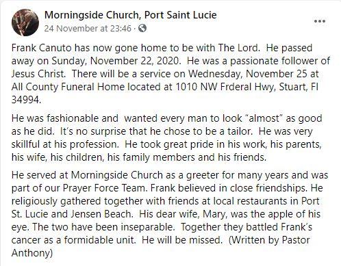 sMothered Frank Canuto death obituary