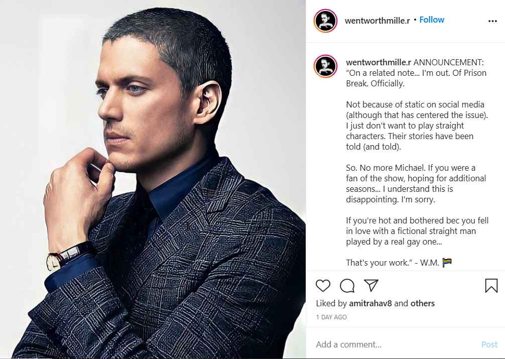 Wentworth Miller no longer wants to star in Fox's Prison Break