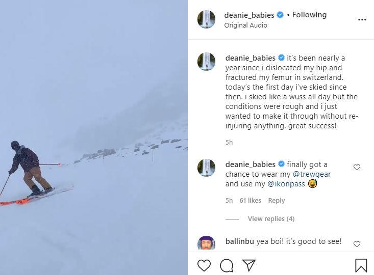 Dean Unglert skis again