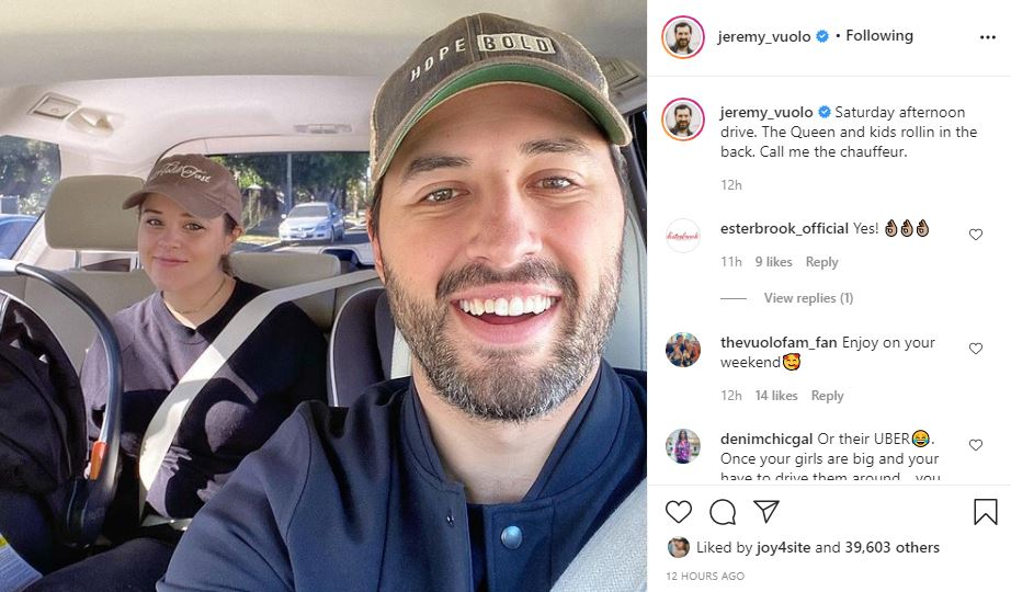 Jeremy Vuolo and Jinger go for a drive