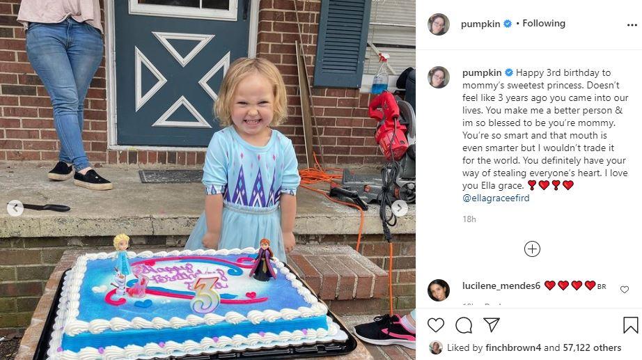 Pumpkin shares Ella Grace three years old birthday photos