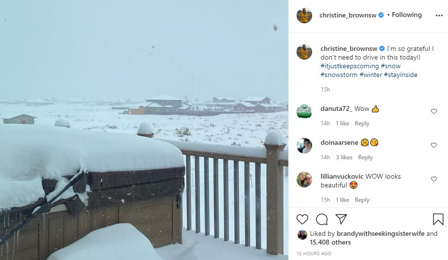 Christine Brown Shares Heavy Snowfall In Flagstaff
