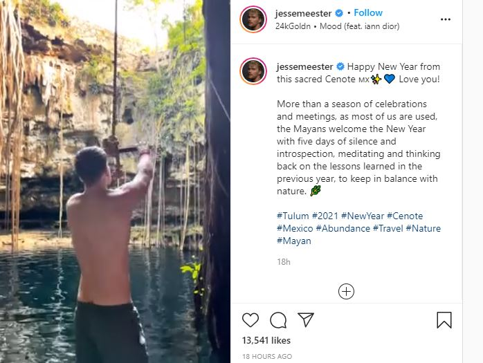 Jesse Meester Gets Wet At New year
