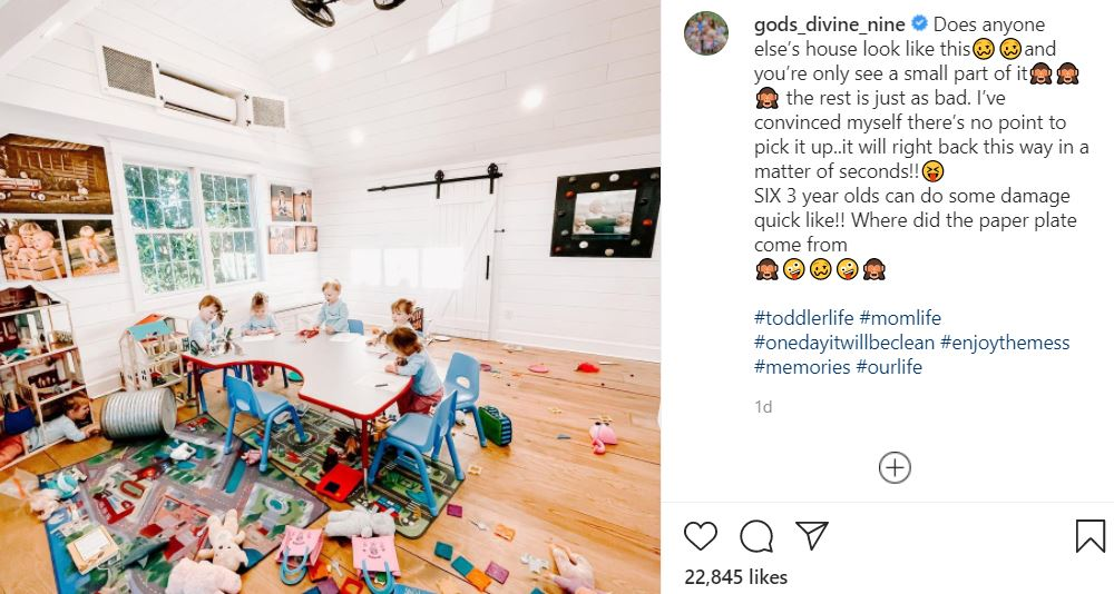 Sweet Home Sextuplets playroom chaos