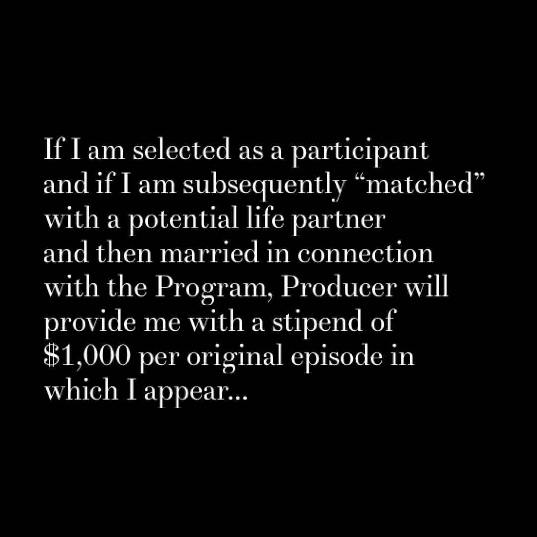 Extracts from the Married at First Sight contract