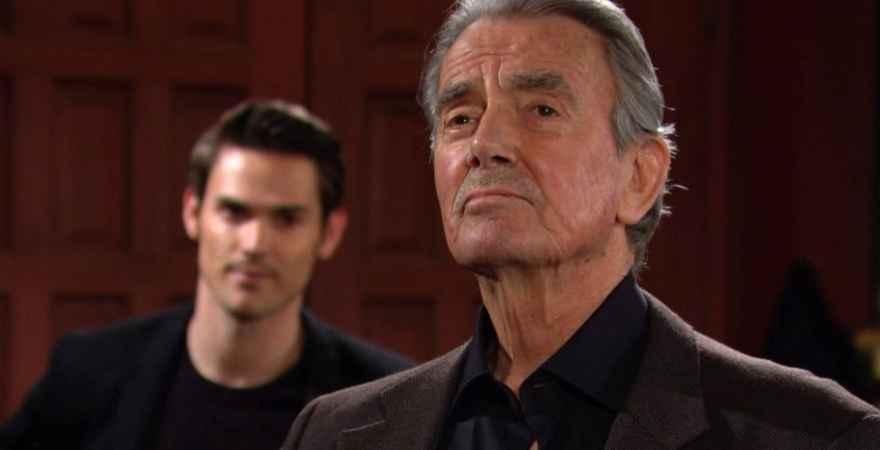 Mark Grossman as Adam and Eric Braeden as Victor on The Young and the Restless