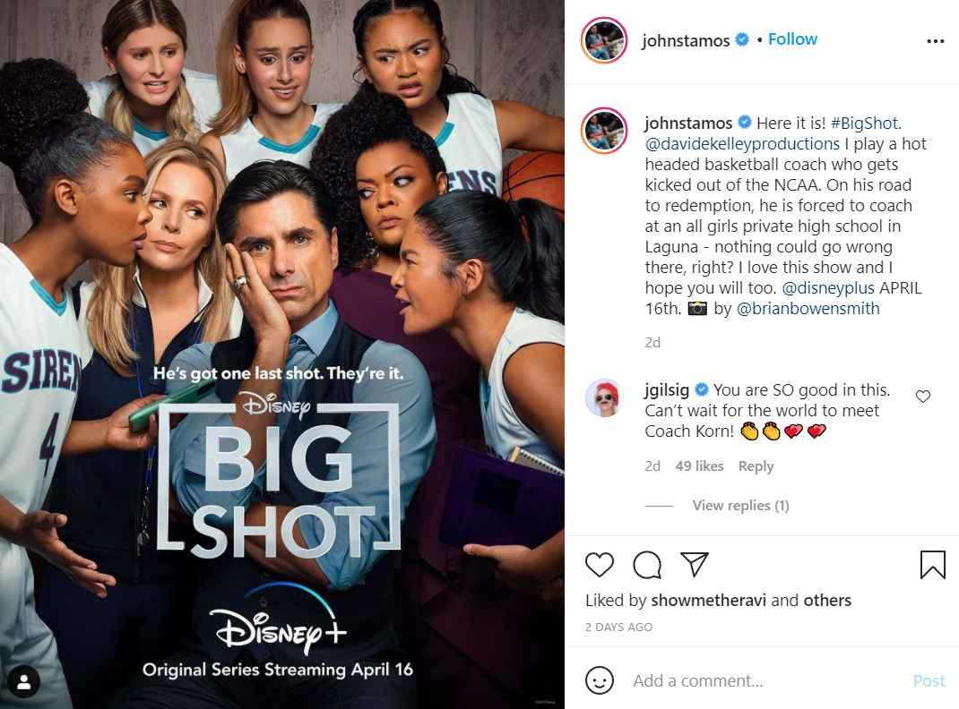 John Stamos has a role as a basketball coach on Disney+ Big Shot