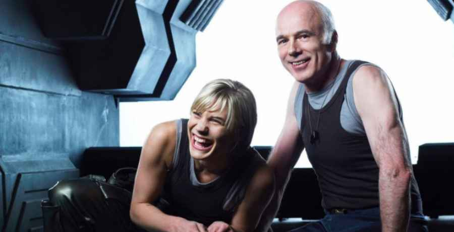 Katee Sackhoff and Michael Hogan of Battlestar Galactica