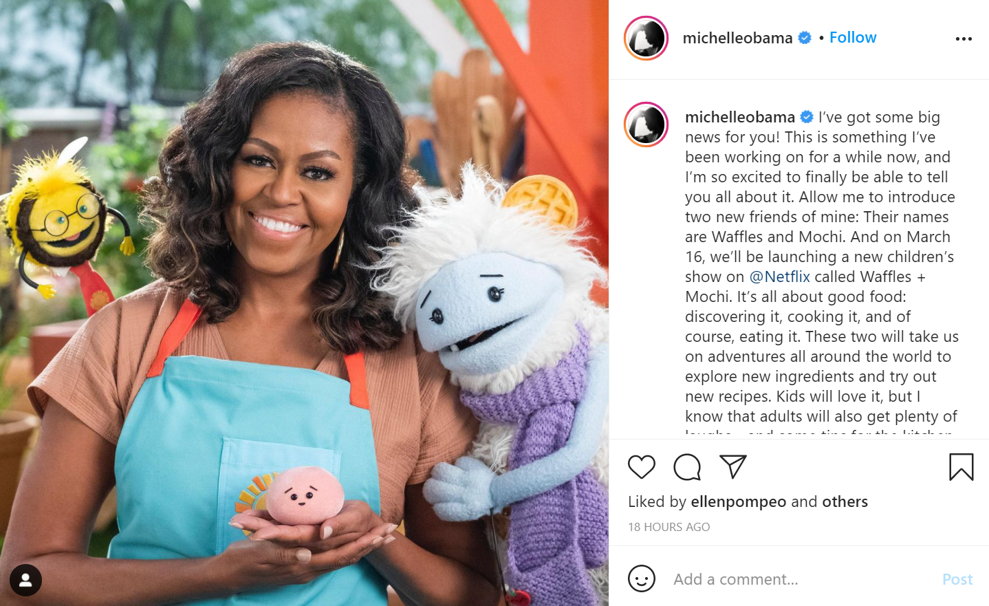 Michelle Obama will produce and star in Waffles + Mochi on Netflix